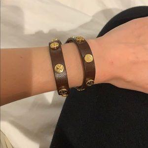 Tory Burch Dark Brown Leather & Gold Wrap Bracelet